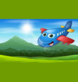 smiling cartoon airplane flying in the mountain vi vector image