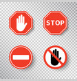 stop sign and no entry hand symbol set isolated on vector image