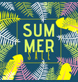 summer sale banner with flat exotic jungle plants vector image vector image