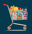 supermarket shopping cart isolaited vector image vector image