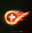switzerland with flying soccer ball on fire vector image vector image
