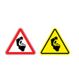 Warning sign toilet attention Dangers yellow sign vector image vector image