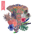 watercolor of indian elephant head vector image vector image