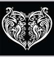 White Heart made out of swirls tattoo inspired vector image vector image