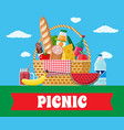 wicker picnic basket full of products vector image vector image