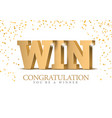 win congratulations on winning gold 3d lettering vector image vector image