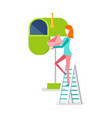 woman on stairs putting envelope in mailbox vector image