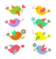 colorful springtime birds with flowers vector image