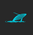 a humpback whale jump out of the water vector image vector image