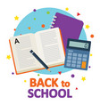 back to school book with school notebook and vector image vector image