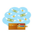 banknotes and coins with wings flying away from vector image vector image
