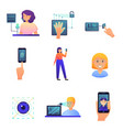 biometric security set mode different type or vector image vector image