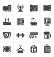Black Hotel Amenities Services Icons vector image vector image