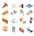 bowling isometric icons vector image
