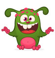 cartoon laughing green monster vector image