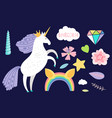 cartoon unicorn and collection accessorises vector image vector image