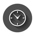 clock icon flat design with long shadow vector image vector image