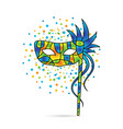 colorful carnival mask with handle vector image vector image
