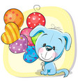 cute cartoon puppy with balloons vector image