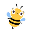 cute funny bee insect lovely colorful creature vector image