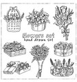 flowers hand drawn doodle set vector image vector image