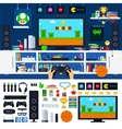 Gamer room interior with gadgets vector image vector image