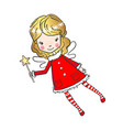 hand drawn cute little fairy with a magic wand vector image vector image