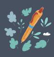 hand drawn pen on dark vector image vector image