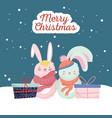 happy new year 2020 celebration cute rabbits vector image vector image
