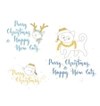 Humorous Christmas and New Year greetings with vector image vector image