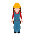 isolated female builder icon vector image