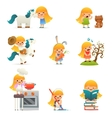 Little Happy Girl Smiling Child Icon Set Concept