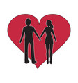 man and women holding hand black silhouette with vector image