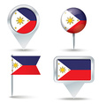 Map pins with flag of Philippines vector image