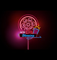 now open glowing neon and bulb sign cinema movie vector image vector image