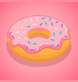 pink donut icon isometric style vector image