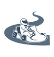 professional kart racer sits in vehicle and drives vector image vector image