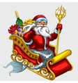 Santa Claus with mermaid tail on a sled vector image