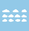 set clouds isolated on blue background flat vector image vector image