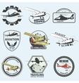 Set of vintage retro aeronautics flight badges vector image vector image