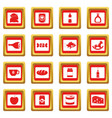 shop navigation foods icons set red vector image vector image