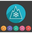 Snow tire Mountain Snowflake Mud symbol icon flat vector image