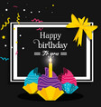 sweet cupcakes of birthday and candle vector image vector image