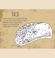 taco sketch on mexican fast food promo banner vector image