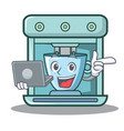 with laptop coffee maker character cartoon vector image