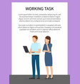 working task man and woman vector image vector image