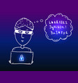 young hacker boy with laptop vector image
