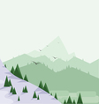 Abstract landscape with pine trees snow vector image vector image