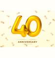 anniversary golden balloons number 40 vector image