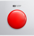 blank red glossy badge or button 3d render vector image vector image